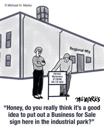 cartoon putting a sign out to sell business